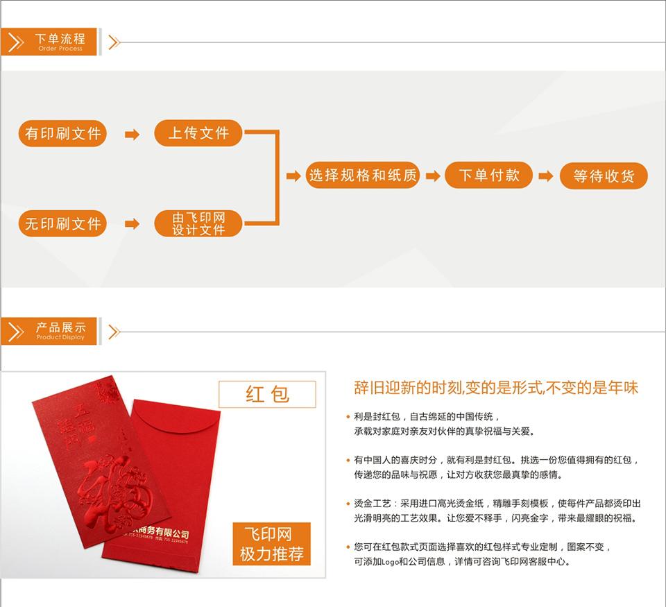 红包印刷下单流程,产品展示