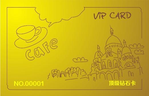 金色线条手稿咖啡店会员卡模板下载