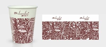 深红咖啡纸杯模板下载
