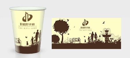 棕色园林底纹纸杯模板下载