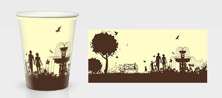 棕色园林底纹纸杯