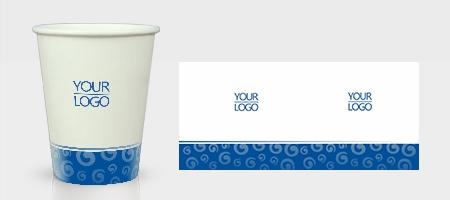 蓝色企业纸杯模板下载